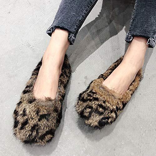 Leopard-print-slingbacks (ZHAOXIANGXIANG Frauen Herbst Und Winter Wild Erbsen Schuhe Studenten Flache Füße Schuhe, Thirty-Seven, Leopard Print)