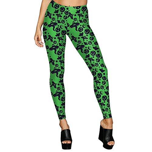 Rongjuyi Frauen Design Leggings 3D gedruckt Halloween Kürbis Laterne Ack-O'Lantern Fledermaus Leggins Yoga Hose Strumpfhosen Legging für Frau Yoga Leggings (Color : Green, Size : M)