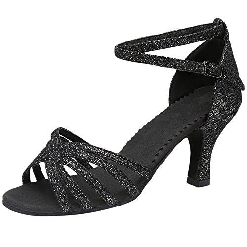 Shoes High Azbro Dance Open Toe Women's Latin Black Strap Heels 088rIqw