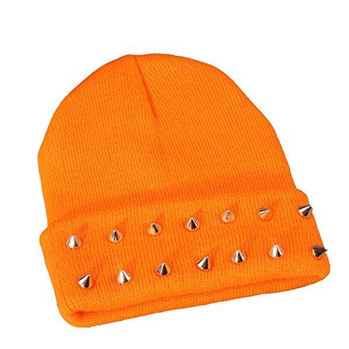 JTC Femme Petit Chapeau avec Rivet D'hiver ou Automne Mignon En Tricotage Orange