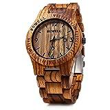Bewell W086B - Reloj de pulsera para hombre, de madera, analógico, de cuarzo, ligero, hecho a mano