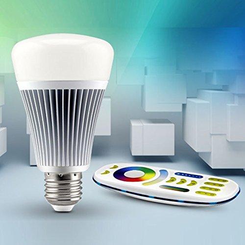 LIGHTEU®, 1x 8W E27 Nouveau design sans fil E27 8W 2.4G RF télécommande RGBW + CCT LED ampoules avec une télécommande à 4 zones