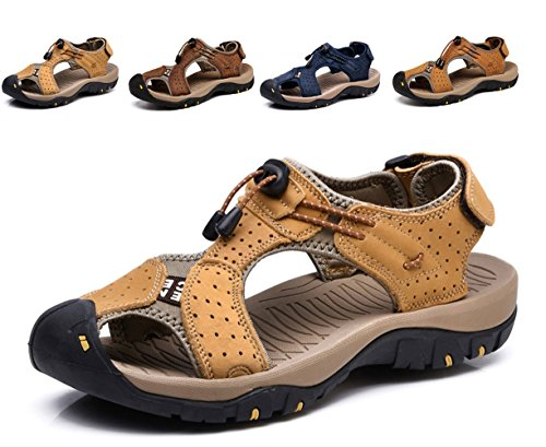 Lijeer Sommer Neue Outdoor Herren Strand Schuhe Leder Casual Schuhe Korean Breathable Wxposed Toe Leder Sandalen Baotou Anti-Rutsch (Leder Buffalo Neue)