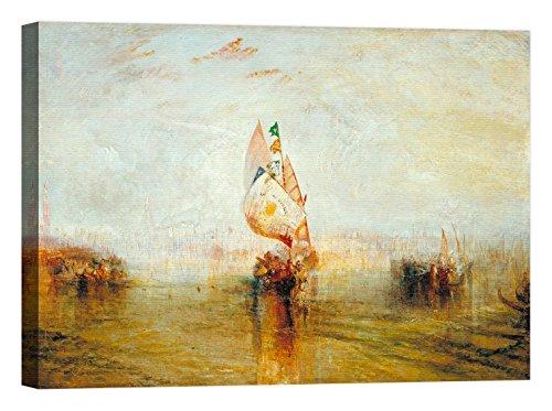 LuxHomeDecor Rahmen Druck auf Leinwand mit Rahmen in Holz William Turner The Sun Of Venice Going To Sea 135x100 CM