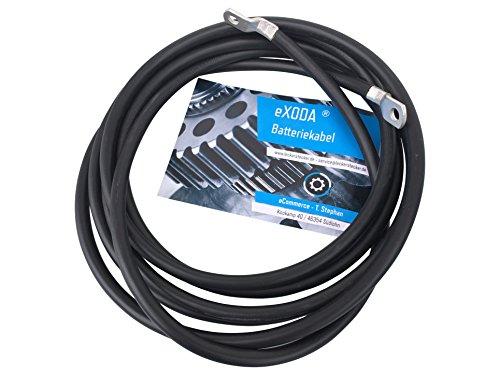 eXODA Câble de Batterie 200cm câble d'alimentation en cuivre 35 mm² avec cosses à œillets M10 Noir 12V câble de Voiture
