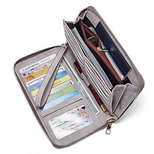 Frauen Geldbörse Nubukleder Groß Geldbeutel Lang Reißverschluss Clutch Damen Portemonnaie mit Viele Kartenfächer Grau (Wallet Plus Clutch Iphone 6)