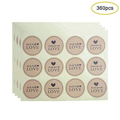 Kraftpapier Aufkleber, 3,8 cm im Durchmesser Runde Label Hand Made with Love Sealing Aufkleber Cookie Bag Back Verpackung Geschenkbox Pack Vintag Geschenkaufkleber (30 Blatt/360 Stücke)