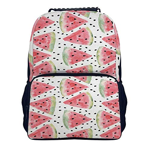 Schulrucksack, Watercolor Watermelon Print Shoulders Backpack Fashion Two Mesh Side Pockets Laptop Bag for Adults and Children (Side Bag Laptop)