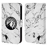 Head Case Designs Offizielle NBA Marmor Weiss 2018/19 Minnesota Timberwolves Brieftasche Handyhülle aus Leder für iPhone 4 / iPhone 4S