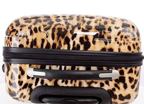 Polycarbonat Hartschale Koffer 2060 Trolley Reisekoffer Reisekofferset Beutycase 3er oder 4er Set in 12 Motiven (Leopard) - 8