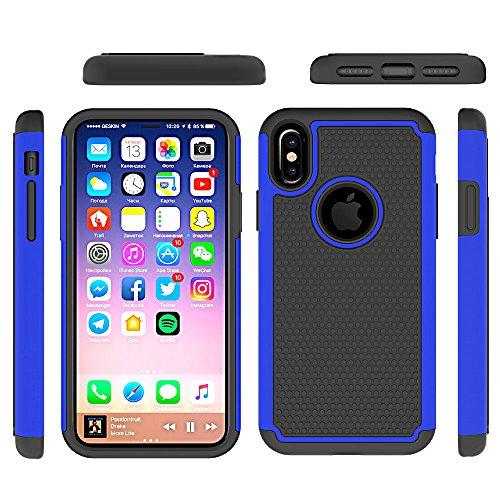iPhone X Hülle, MOONMINI 2 in 1 Weich TPU Silikon Schale + Hard PC Dual Layer Hybrid Handy Tasche Case Slim Anti-Rutsch Stoßfest Back Schutzschale Schutzhülle für iPhone X (2017) Dunkelblau Dunkelblau