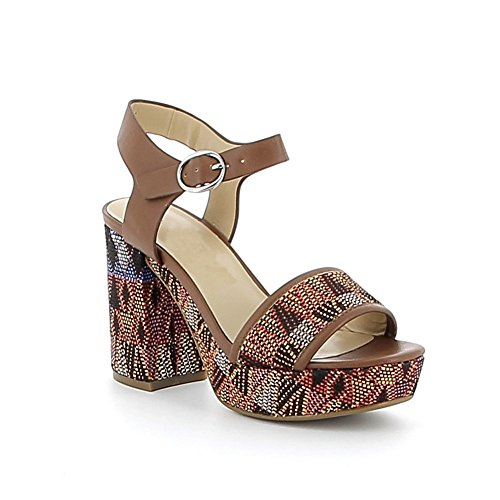 Sandale à talon à motifs aztèques Camel