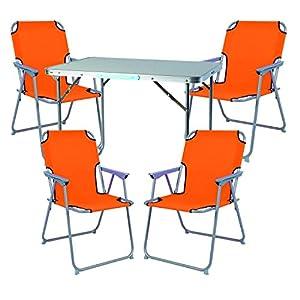 Mojawo 5tlg. Campingmöbel Set Alu Camping L70xB50xH59cm 1x Campingtisch mit Tragegriff + 4 Campingstühle orange Stoff Oxfort