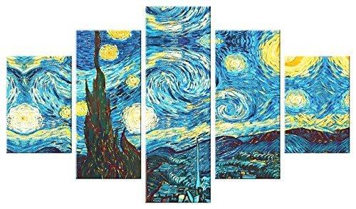 Lupia quadro moderno 5 pezzi in legno vogue 48x85 cm notte stellata