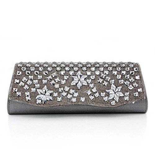 Strawberryer Ensemble De Soirée De Dames European Leisure Acrylic Drill Clutch Outdoor Messenger Bag Décoration De Robe Grey