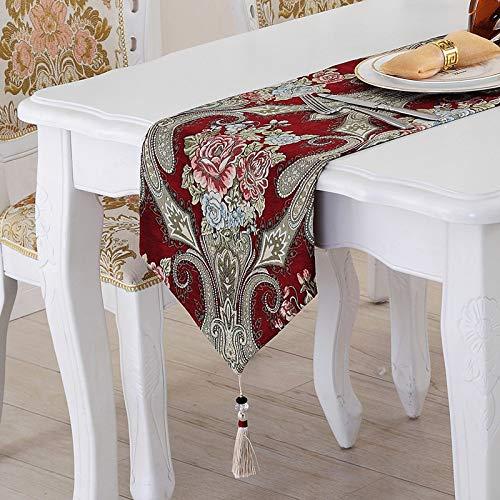 LGZOOT Tischläufer Tee-Flag-Tischdecke-Kaffee-Fernsehkabinett-Dekorations-Gewebe-Bettkommode-Schal-Tischdekoration,Red-32 * 250