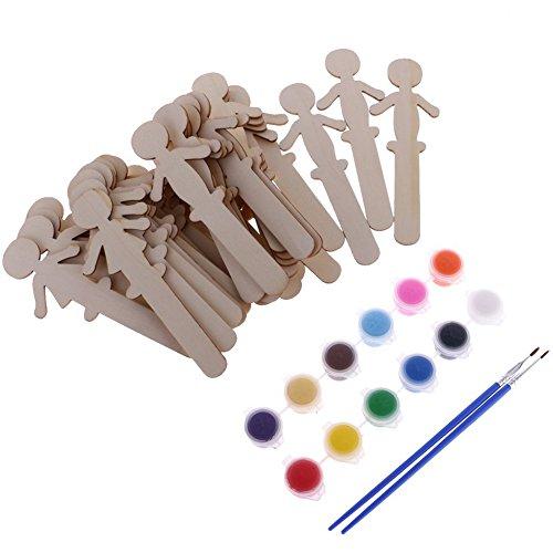 little finger, 32 Holzstäbchen für Jungen und Mädchen, 12 Farben + 2 Pinsel zum Basteln, Holz, Siehe Abbildung, Einheitsgröße - Pinsel Finger,