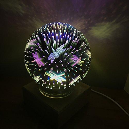 Lumière de nuit magique de feux d'artifice en verre de 3D LED,lumière de décoration de chambre à coucher de LED, lumière de nuit,cadeau parfait pour des enfants adultes de bébé -10 modèles (Libellule)