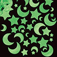 Baker Ross Glow In T Dark Moon & Star Stickers Assorted Self Adhesive Foam Shapes Embellishments Children