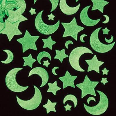 Pegatinas Luminiscentes con Forma de Luna y Estrellas para Artesanía Perfectas para Decorar Tarjetas Álbumes Collages y Otras Manualidades de Niños (Pack de 120)
