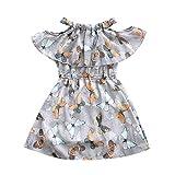 Livoral Mädchen Schmetterling gekräuselt Off-The-Schulter Tüll Prinzessin Kleid Kinder Teen Kleid(Grau,150)