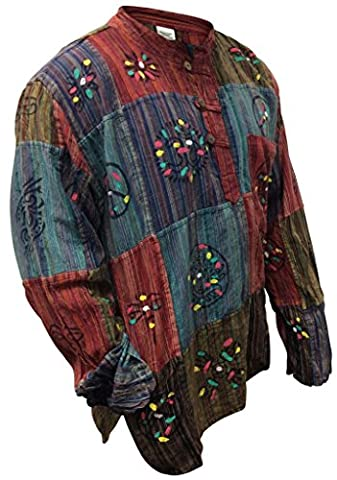 Shopoholic Fashion Stonewashed Stripe Shirt With Patchwork,Colorful,hippie, Multi Color, Large