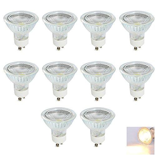 MR16GU10LED Glühbirne, dimmbar COB Licht 5Watt 400Lumen, entspricht 40W Halogen, Warmweiß 3000K, LED-Leuchtmittel für Spotlight, Einbauleuchte, Track Beleuchtung, 10er Pack