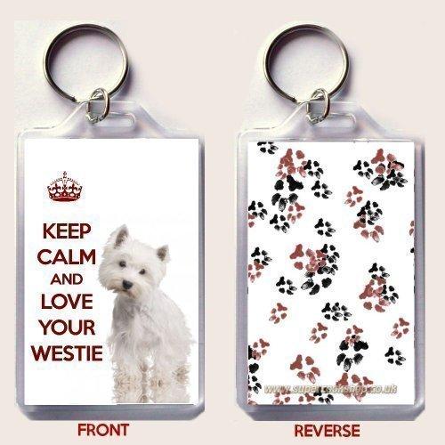 Schlüsselanhänger, Motiv 'West Highland White Terrier - Keep calm and love your Westie'
