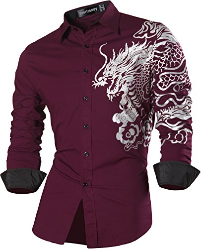 Sportrendy Herren Freizeit Hemden Slim Button Down Long Sleeves Dress Shirts Tops MFN2_JZS041 WineRed
