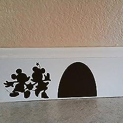 "Dibujos animados adhesivo–Mickey y Minnie Mouse de la Casa Pared Vinilo Adhesivo, vinilo, negro, 6.5""w x2.5""h"