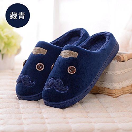 DogHaccd pantofole,Soggiorno invernale striature mezza confezione con cotone pantofole donna coppia calda e rilassante anti-slittamento Home Home il cotone e l'uomo Blu scuro4