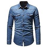 Chemises Jean Hommes Automne Hiver Vintage en Détresse...