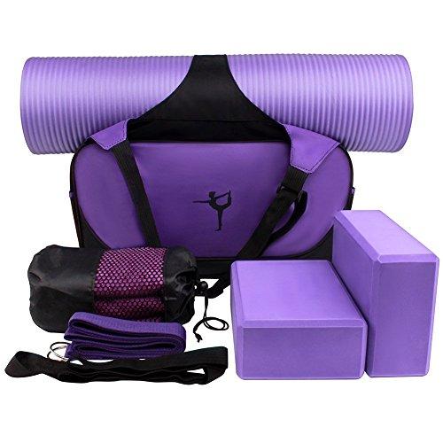 Yoga-Starter-Kit - 6 in 1 Set essentielle Anfänger Bundle enthalten Yoga-Gymnastikmatte, Yoga Blöcke, Yoga Gurt, Yoga Handtuch und Tragetasche - perfektes Geschenk für Yogis (lila)