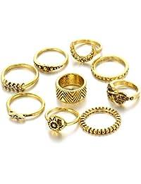 Hot And Bold Vintage MIDI Rings / Finger Ring For Women & Girls - Set Of 9, Gold