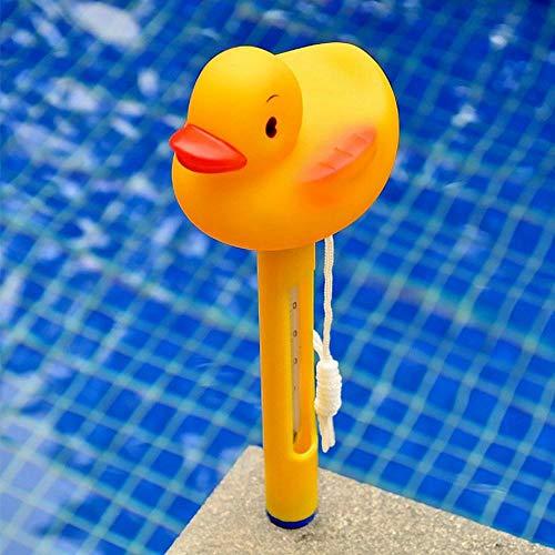 FOONEE Schwimmendes Pool-Thermometer, Cartoon-Wasserthermometer, mit Schnur für den Innen- und Außenbereich, Badewanne, Spa, Aquarien. (gelbe Ente) Ente Gelb