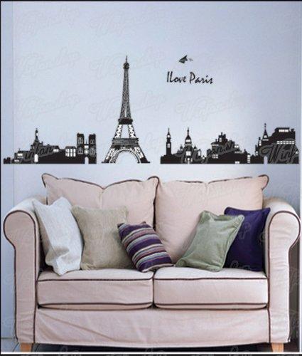 Great Tattoos Wandaufkleber Wandtattoo Wandsticker I Love Paris Eiffel Tower WAK-044