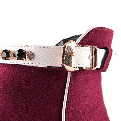 VogueZone009 Femme à Talon Correct Zip Pointu Bottes avec Passepoil à Diamant Verre Rouge Vineux