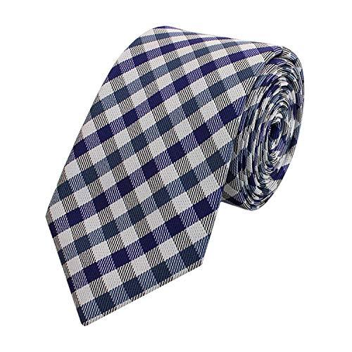 Fabio Farini karierte 6 cm Krawatte, für jeden Anlass mit Karomuster in mehreren Farben (Blau Lila Grau) - Blau Diagonale Streifen-krawatte