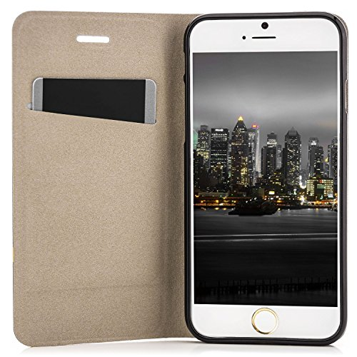 Coque iPhone 6 / 6S [Zanasta Designs] Housse Etui Ultra Mince Case Flip Cover avec Poche intérieur Wallet Haute qualité Noir Noir