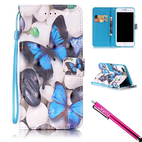iPhone 7 Plus Fall, firefish [Ständer] [3D Print] PU Leder Flip Portemonnaie Case Slim Bumper Cover mit Lanyard Magnetic Haut für Apple iPhone 7 Plus + inkl. One Stylus Apple iPhone 7 Plus Butterfly-B (Butterfly Haut)