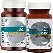 Healthkart Iron Folic Acid +Multivitamin Women - 60 Tablets, Combo Pack)