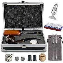 Juego de pipas para fumar tabaco y delicados estuches para cajas de regalo - Joyoldelf Pipa de tabaco para madera con cubierta antiviento, soportes para pipas, cepillos de limpieza y accesorios para pipas