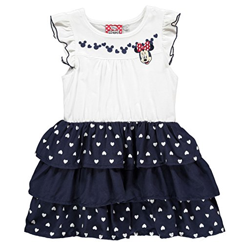 Character Kinder Maedchen Kleid Aermellos Rundhals Motiv Ra Ra Rock Minnie Mouse 3-4 (Rot Dot Kleid Mouse Polka Minnie)