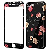 Coque iPhone 8 Plus Fleurs Silicone,Wafly Coque iPhone 7 Plus 360 Degres+Protection...