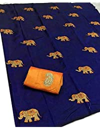 NEW DESIGNER HATHI EMBROIDERY SANA SILK PARTY WEAR SAREE (NAVY)