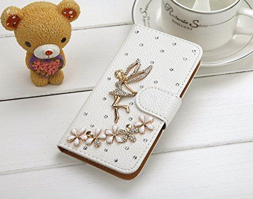 Coque iPhone 5C , iNenk® Sac à main Case w/carte ID titulaire blanc luxe 3D la main paillettes Bling diamant perle Crystal portefeuille pochette carte-Ange Fée Ange Fée
