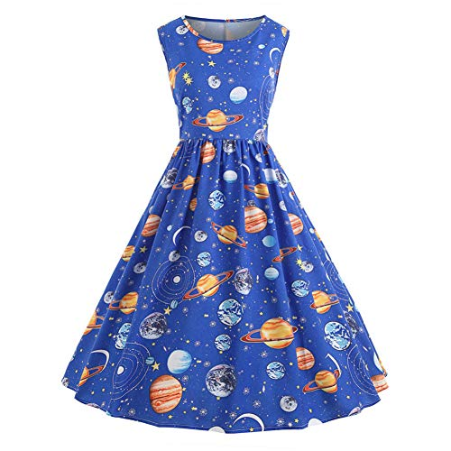 SKBOOS Kleiden Frauen-Vintage-Druck Sternenhimmel Planet Space Dress Fit und Flare    Print (Dress Fit-n-flare)