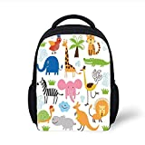Kids School Backpack Animal,Cute Set of Giraffe Elephant Zebra Turtle Kids Nursery Baby Themed Cartoon Comic Print,Multi Plain Bookbag Travel Daypack