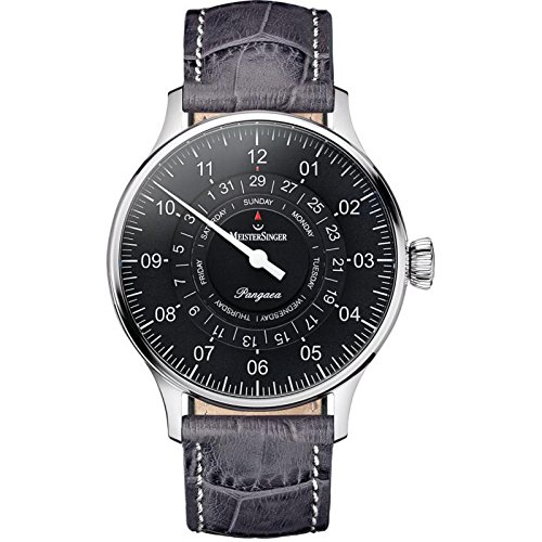 MeisterSinger Men pdd907 Breaker Steel quandrante Anthracite Leather Strap