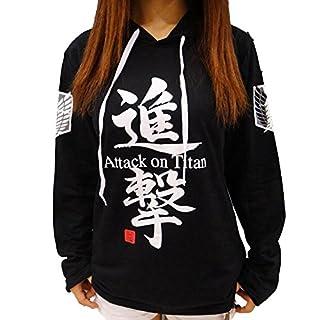 Sweat à capuche/costume de Cosplay Jeylu - Avec titre du manga «Attack on Titan» inscrit en anglais - Eren Jaeger - Pour automne -  Noir - Medium